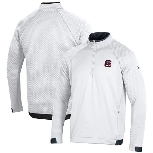 South Carolina Gamecocks Under Armour HD Quarter-Zip Pullover Performance Jacket  White