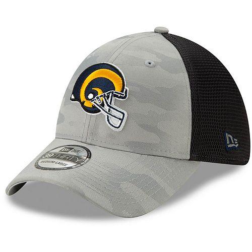 Men's New Era Gray Los Angeles Rams Camo Front Neo Helmet Logo 39THIRTY Flex Hat