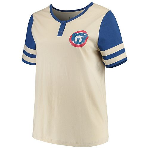 Women's Majestic Cream/Royal Chicago Cubs Plus Size Cooperstown Collection Henley T-Shirt