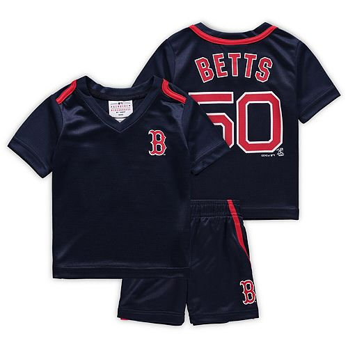Newborn & Infant Majestic Mookie Betts Navy Boston Red Sox Ballpark Champ Name & Number V-Neck T-Shirt & Shorts Set