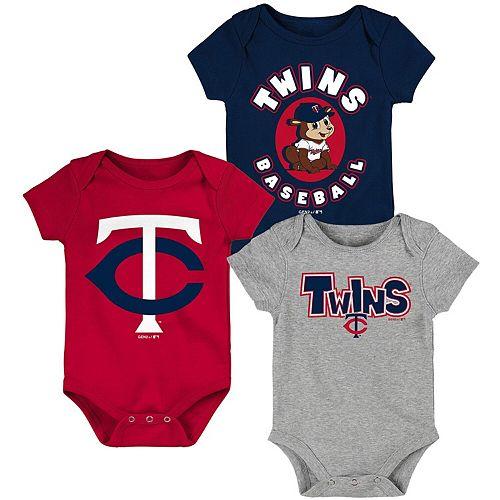 Newborn & Infant Navy/Red/Heathered Gray Minnesota Twins Everyday Fan Three-Pack Bodysuit Set