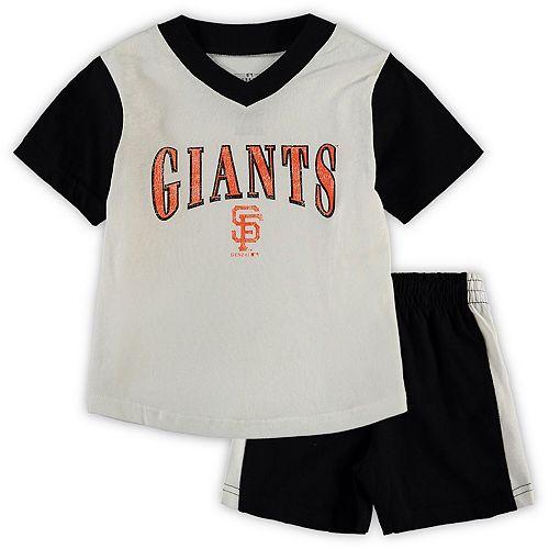 competitive price 419ef 240e5 Toddler White/Black San Francisco Giants Little Hitter V-Neck T-Shirt &  Shorts Set