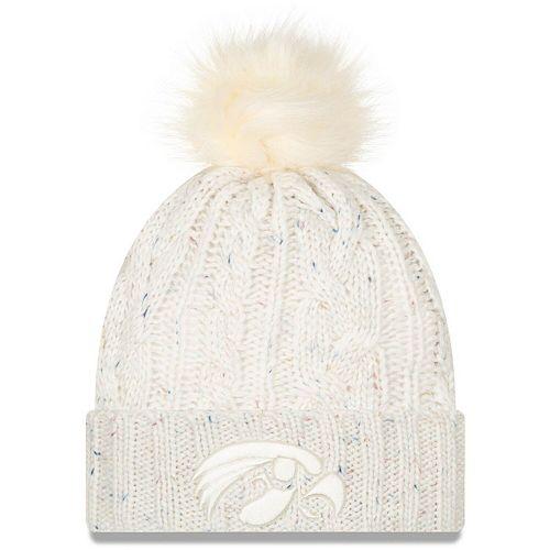 Women's New Era White Iowa Hawkeyes Fuzzy Cuffed Knit Hat with Pom