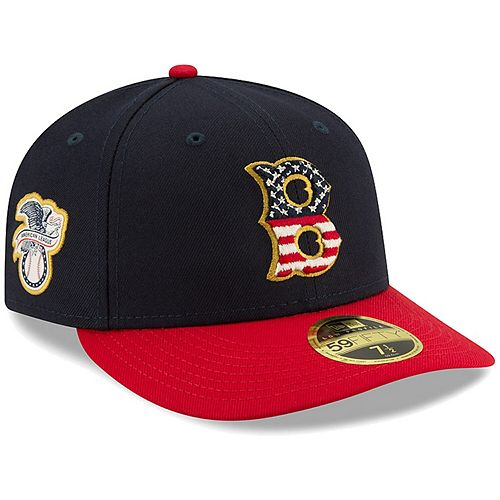 Men's New Era Navy/Red Boston Red Sox 2019 Stars & Stripes 4th of July On-Field Low Profile 59FIFTY Fitted Hat