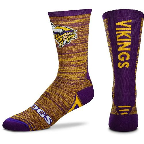 Men's For Bare Feet Minnesota Vikings Jump Jolt Crew Socks