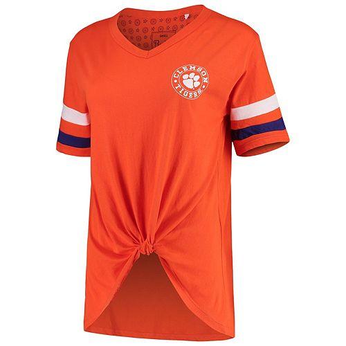 Women's Pressbox Orange Clemson Tigers Knotted Hem V-Neck T-Shirt