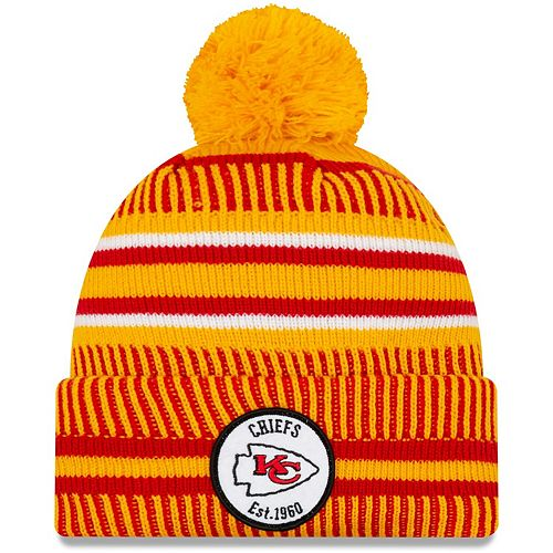 Youth New Era Yellow Kansas City Chiefs 2019 NFL Sideline Home Reverse Sport Knit Hat