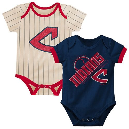 Newborn & Infant Navy/Tan Cleveland Indians Cooperstown Collection Groovy Game Two-Pack Bodysuit Set