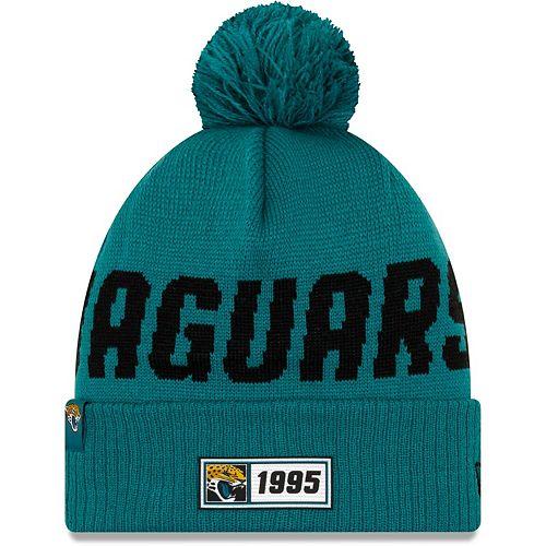 Men's New Era Teal Jacksonville Jaguars 2019 NFL Sideline Road Reverse Sport Knit Hat