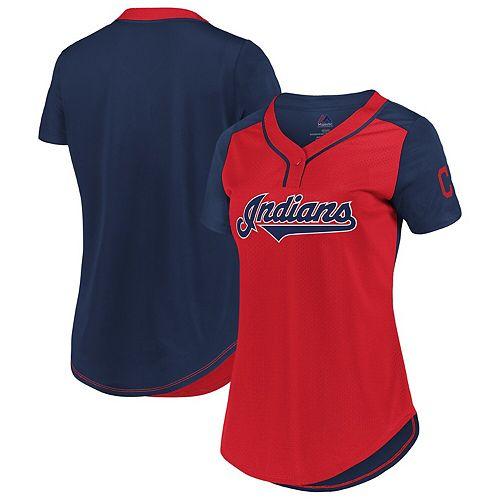 Women's Fanatics Branded Red/Navy Cleveland Indians Plus Size League Diva Mesh T-Shirt