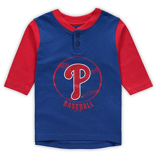Toddler Royal/Red Philadelphia Phillies Legacy Henley 3/4-Sleeve T-Shirt