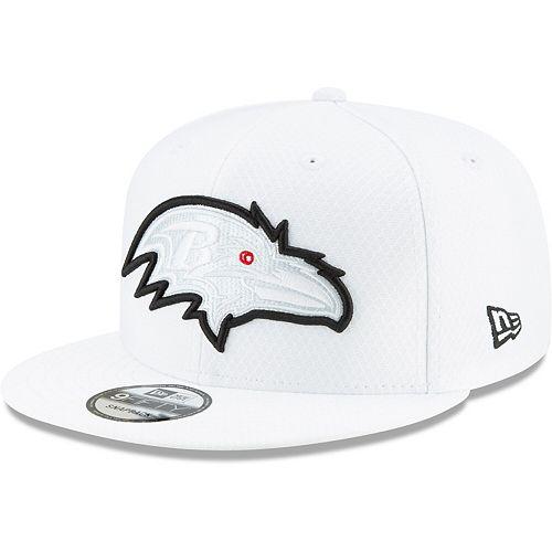 Men's New Era White Baltimore Ravens 2019 NFL Sideline Platinum 9FIFTY Snapback Adjustable Hat