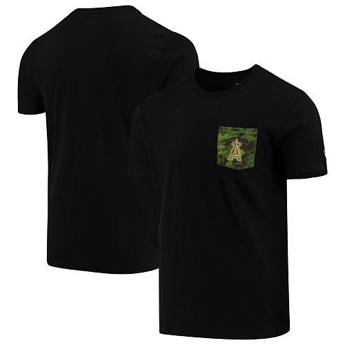 Los Angeles Angels New Era Armed Special Forces Camo Pocket T-Shirt - Black