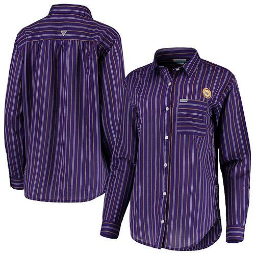 LSU Tigers Columbia Women's Sun Drifter Vertical Stripe Button-Down Shirt - Purple