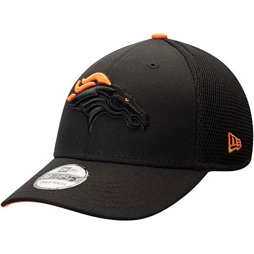 Youth New Era Black Denver Broncos Two-Tone Sided 39THIRTY Flex Hat