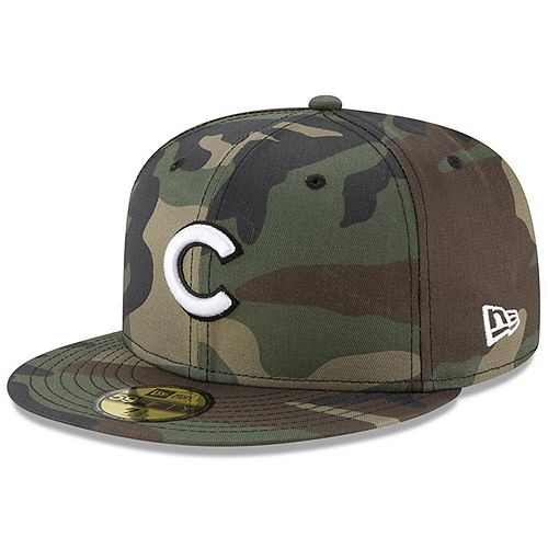 Men's New Era Camo Chicago Cubs Woodland Camo Basic 59FIFTY Fitted Hat