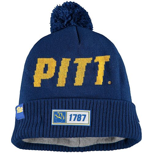 Men's New Era Royal Pitt Panthers Sideline Road Cuffe Knit Hat with Pom