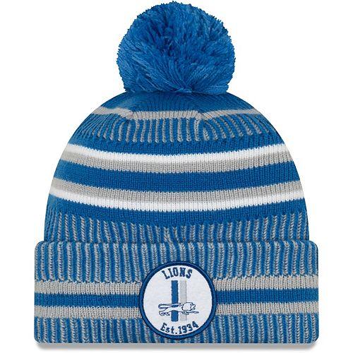 Men's New Era Blue/Silver Detroit Lions 2019 NFL Sideline Home Official Historic Logo Sport Knit Hat