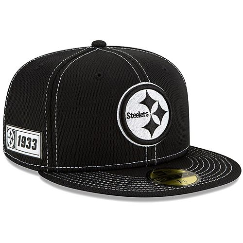 Men's New Era Black Pittsburgh Steelers 2019 NFL Sideline Road 59FIFTY Fitted Hat