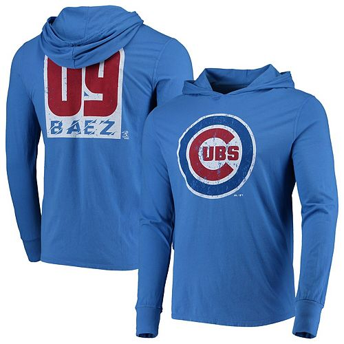 Javier Baez Chicago Cubs Majestic Threads Softhand Long Sleeve Player Hoodie T-Shirt - Royal
