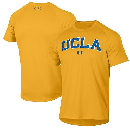 Men's Under Armour Gold UCLA Bruins Wordmark School Logo Tech 2.0 Performance Raglan T-Shirt
