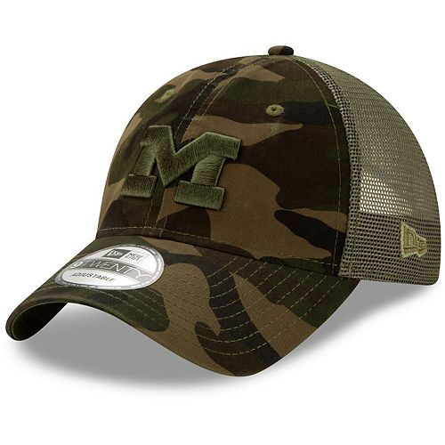 Men's New Era Camo Michigan Wolverines Trucker 9TWENTY Adjustable Snapback Hat