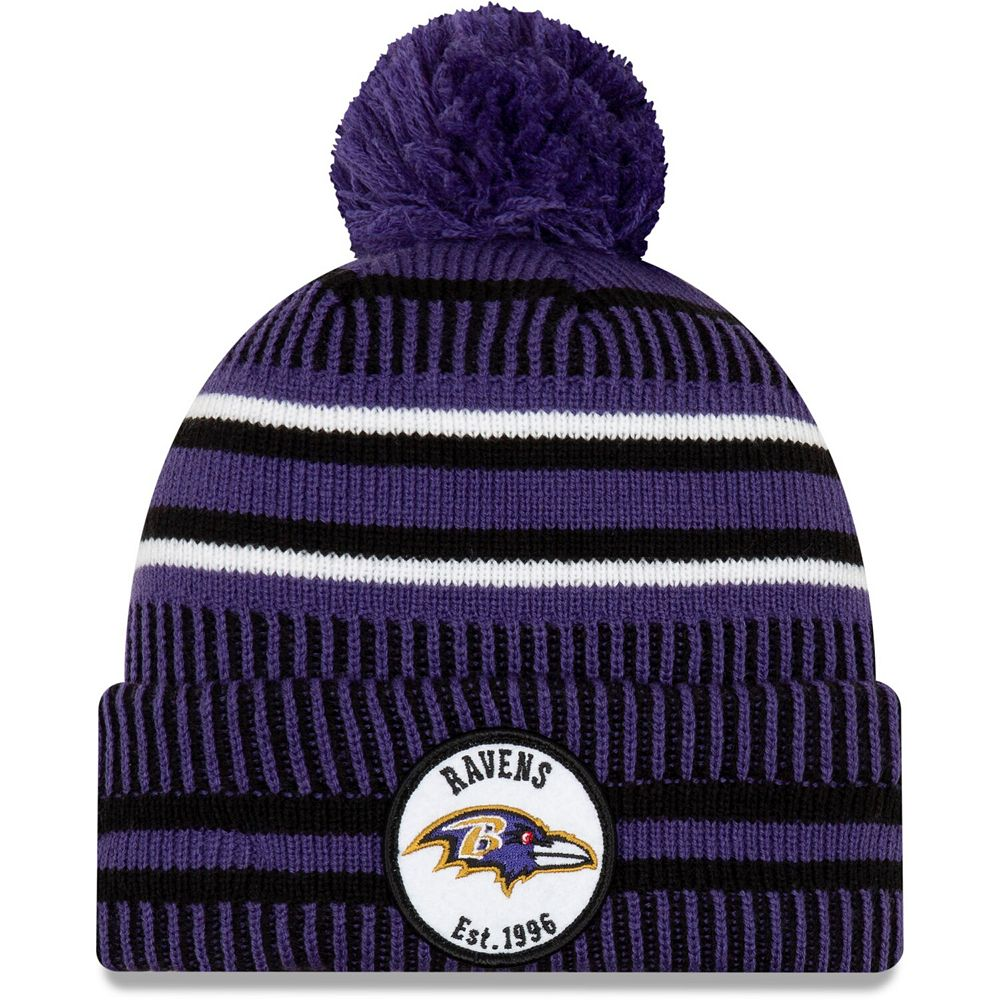 Men's New Era Purple/Black Baltimore Ravens 2019 NFL Sideline Home Reverse Sport Knit Hat
