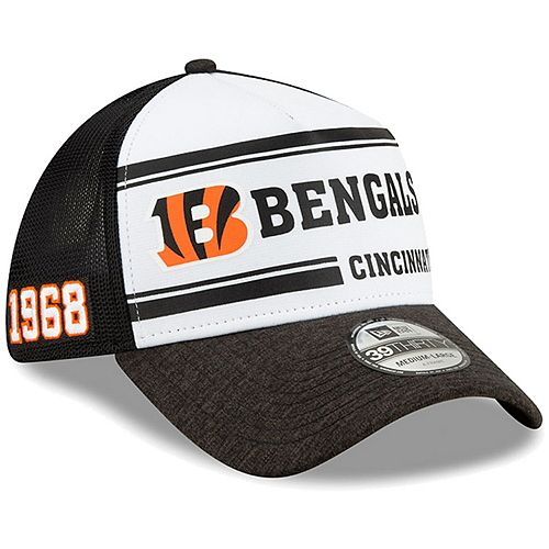 Men's New Era White/Black Cincinnati Bengals 2019 NFL Sideline Home Official 39THIRTY 1970s Flex Hat