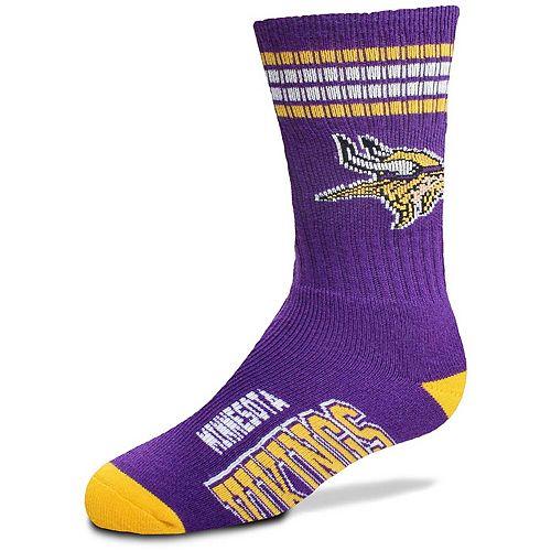 Youth For Bare Feet Minnesota Vikings Four-Stripe Deuce Quarter-Length Socks