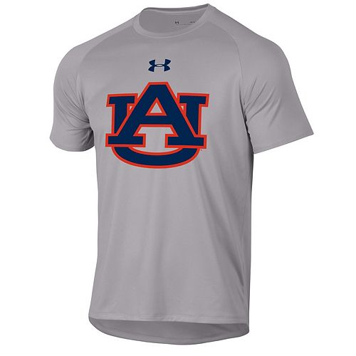 Men's Under Armour Heathered Gray Auburn Tigers School Logo Tech 2.0 Performance T-Shirt