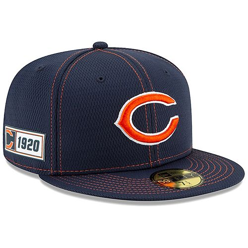 Men's New Era Navy Chicago Bears 2019 NFL Sideline Road Official Logo 59FIFTY Fitted Hat