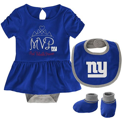 Girls Newborn Royal New York Giants MVP Bodysuit, Bib & Booties Set