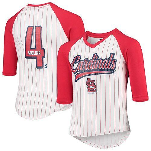 Yadier Molina St. Louis Cardinals 5th & Ocean by New Era Girls Youth Player Pinstripe Raglan 3/4-Sleeve T-Shirt  White/Red