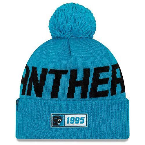 Men's New Era Blue Carolina Panthers 2019 NFL Sideline Road Official Sport Knit Hat