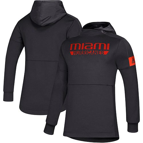 Men's adidas Black Miami Hurricanes Sideline Game Mode climalite Pullover Hoodie