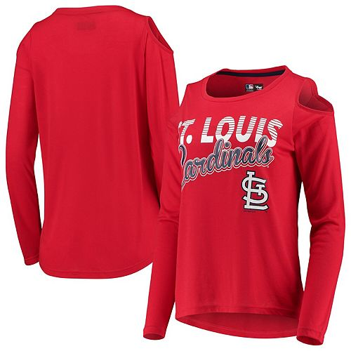 Women's G-III 4Her by Carl Banks Red St. Louis Cardinals Crackerjack Cold Shoulder Long Sleeve T-Shirt