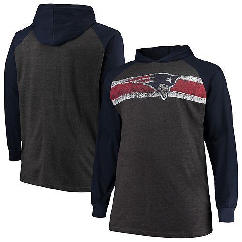 Men's Heathered Charcoal/Navy New England Patriots Big & Tall Raglan Hooded Long Sleeve T-Shirt