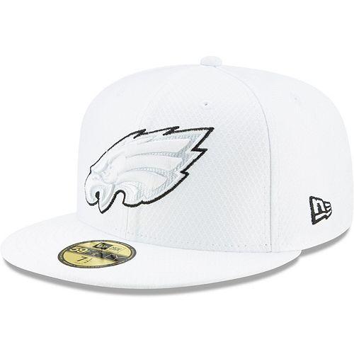 Men's New Era White Philadelphia Eagles 2019 NFL Sideline Platinum 59FIFTY Fitted Hat