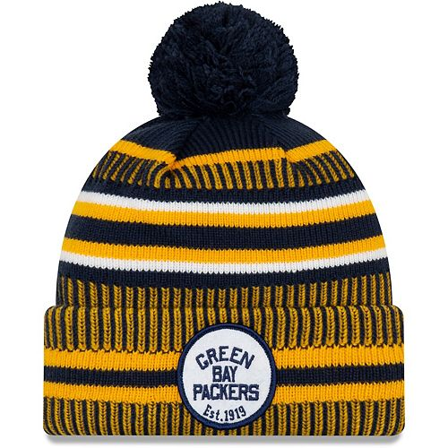 Men's New Era Navy/Gold Green Bay Packers 2019 NFL Sideline Home Official Historic Logo Sport Knit Hat