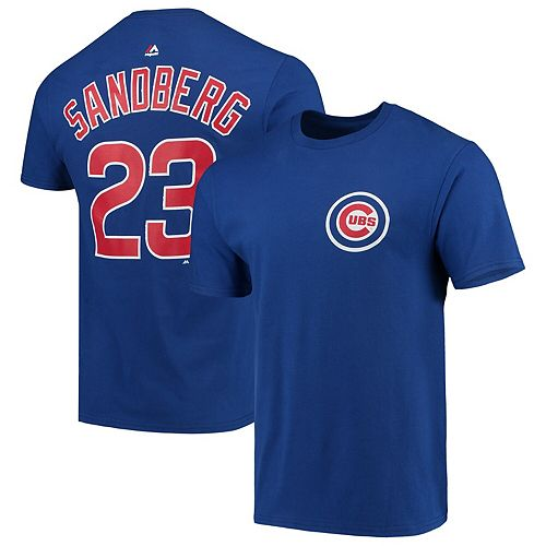Men's Majestic Ryne Sandberg Royal Chicago Cubs Cooperstown Collection Official Name & Number T-Shirt