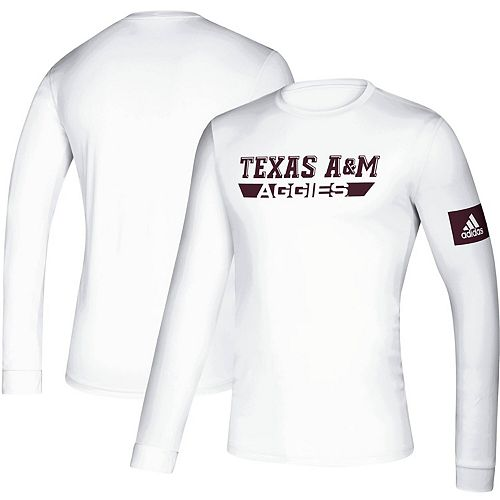 Men's adidas White Texas A&M Aggies 2019 Sideline Practice Creator climalite Long Sleeve T-Shirt