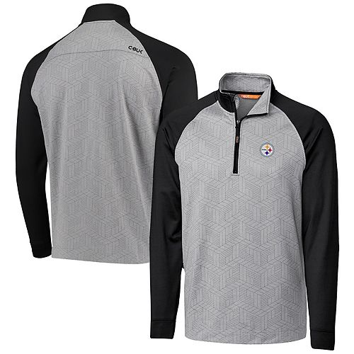 Pittsburgh Steelers CBUK by Cutter & Buck All-Star Raglan Half-Zip Jacket - Gray/Black