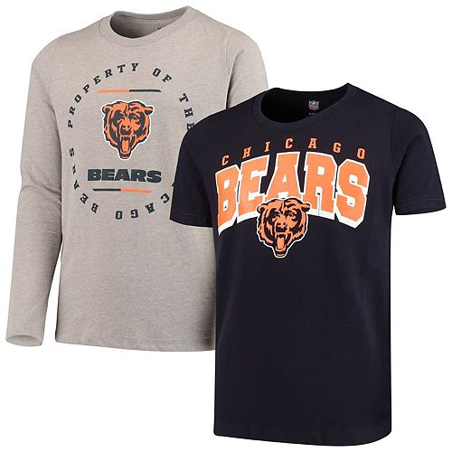 Youth Navy/Heathered Gray Chicago Bears Club Short Sleeve & Long Sleeve T-Shirt Combo Pack