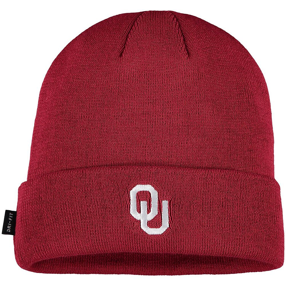 Youth Nike Crimson Oklahoma Sooners Sideline Logo Cuffed Knit Hat