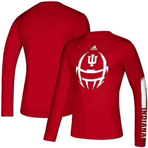 Men's adidas Crimson Indiana Hoosiers 2019 Sideline Locker Helmet Creator climalite Long Sleeve T-Shirt