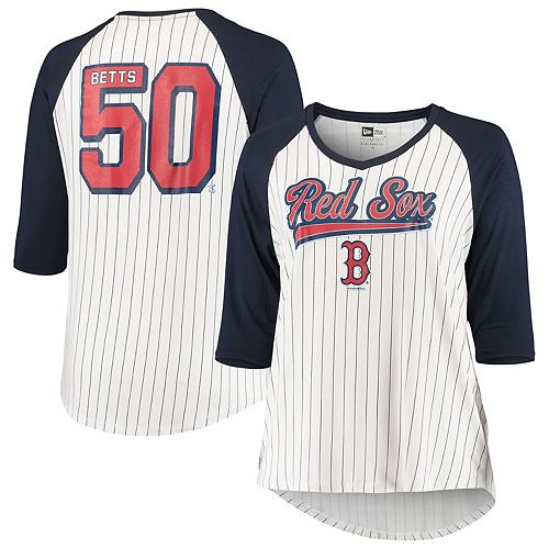Women's 5th & Ocean by New Era Mookie Betts White/Navy Boston Red Sox Plus Size Player Pinstripe Raglan 3/4-Sleeve T-Shirt