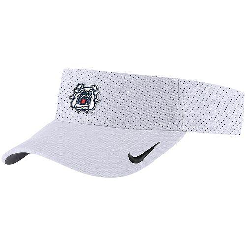 Men's Nike White Fresno State Bulldogs Sideline Primary Logo Performance Visor