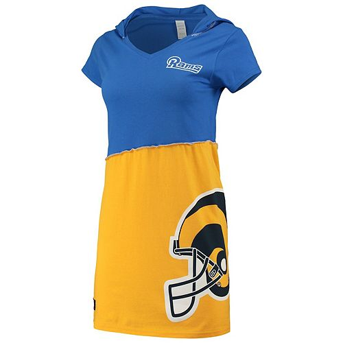 Women's Refried Tees Royal/Gold Los Angeles Rams Hooded Mini Dress