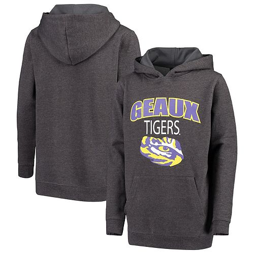 Youth Colosseum Charcoal LSU Tigers Core Bold Logo Chant Pullover Hoodie
