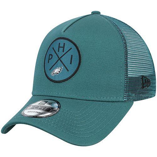 Men's New Era Midnight Green Philadelphia Eagles Quad A-Frame 9FORTY Trucker Adjustable Hat
